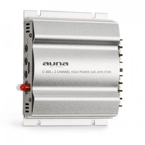 Wzmacniacze samochodowe, auna C300.2 2-kanałowy wzmacniacz samochodowy 800W PMPO 200W RMS srebrny