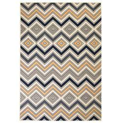 Nowoczesny dywan w zygzak, 120x170 cm, brązowo-czarno-niebieski