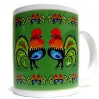 Kubki, Kubek z motywem ludowym, koguty łowickie (zielony)