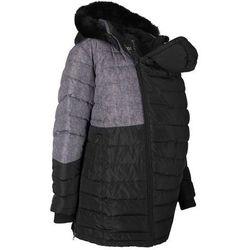 Płaszcz ciążowy z wstawką na nosidełko niemowlęce, z nadrukiem bonprix czarno-szary