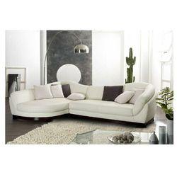 Sofa narożna ze skóry bawolej, 5-osobowa, CAPRI II - Kość słoniowa - Narożnik lewostronny