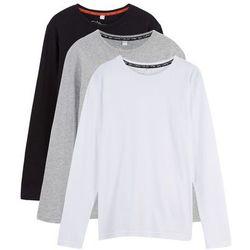 Shirt z długim rękawem (3 szt.) bonprix czarny + jasnoszary melanż + biały