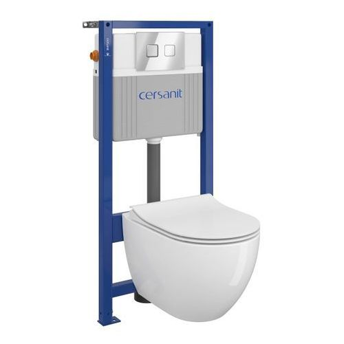 Stelaże i zestawy podtynkowe, Zestaw podtynkowy WC Cersanit Bari bezkołnierzowy przycisk pneumatyczny chrom