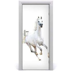 Naklejka samoprzylepna na drzwi Biały koń w galopie