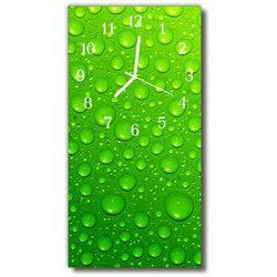 Zegar Szklany Pionowy Natura Krople woda rosa zielony