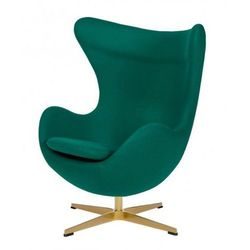 Fotel EGG CLASSIC GOLD szmaragdowy zielony.41 - wełna, podstawa złota