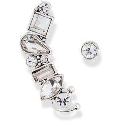 Kolczyk wkrętka i ozdoba na ucho z dekoracyjnymi kamieniami bonprix srebrny kolor