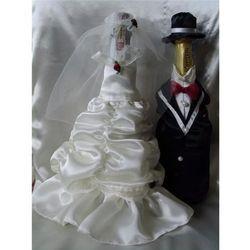Ubranka na butelkę szampana - Bella Białe