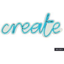 SELSEY Neon na ścianę Letely z napisem Create niebieski
