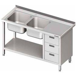 Stół ze zlewem dwukomorowym z lewej strony z szafką i półką 1700x600x850 mm | STALGAST, 981066170