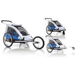 Przyczepka rowerowa dla dzieci bs c03 duo2 3w1 wózek buggy + jogger niebieska marki Xlc